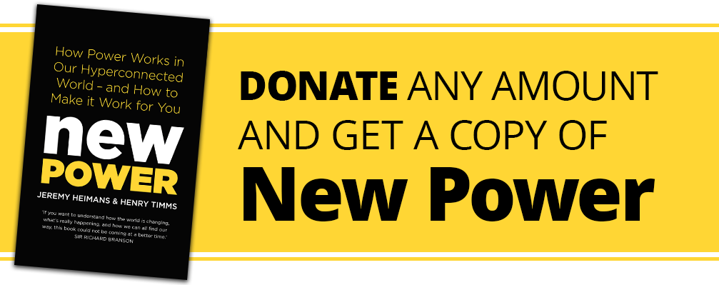 Banner reads - Donate any amount and get a copy of New Power