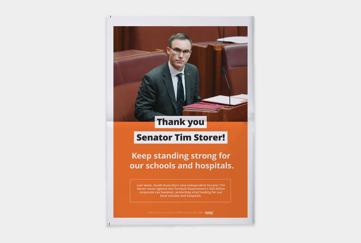 Pictured: a newspaper ads thanking Senator Tim Storer for standing up to the big business handout.