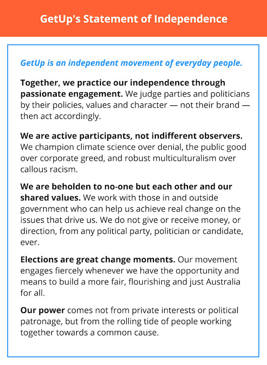 Click here to chip in to put the GetUp Statement of Independence in national newspapers