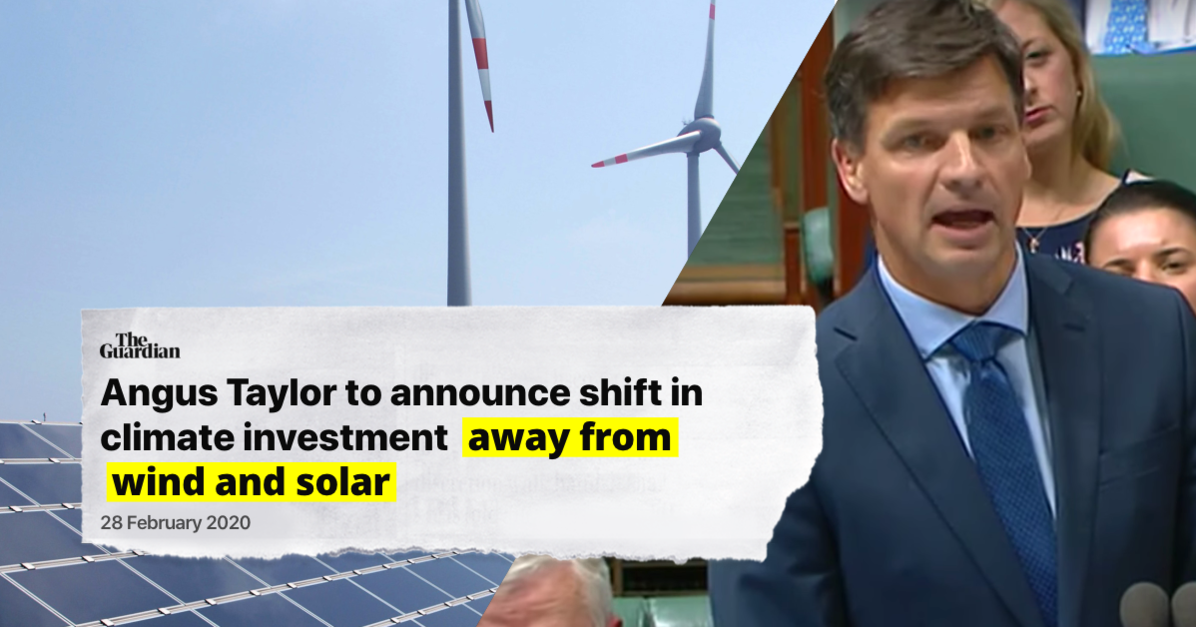 Angus Taylor to announce shift in climate investment away from wind and solar, The Guardian, 28 Feb 2020