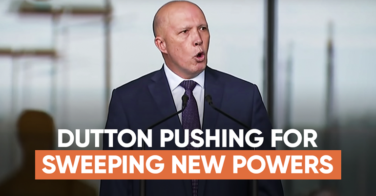 Minister Dutton talking in front of Parliament House
