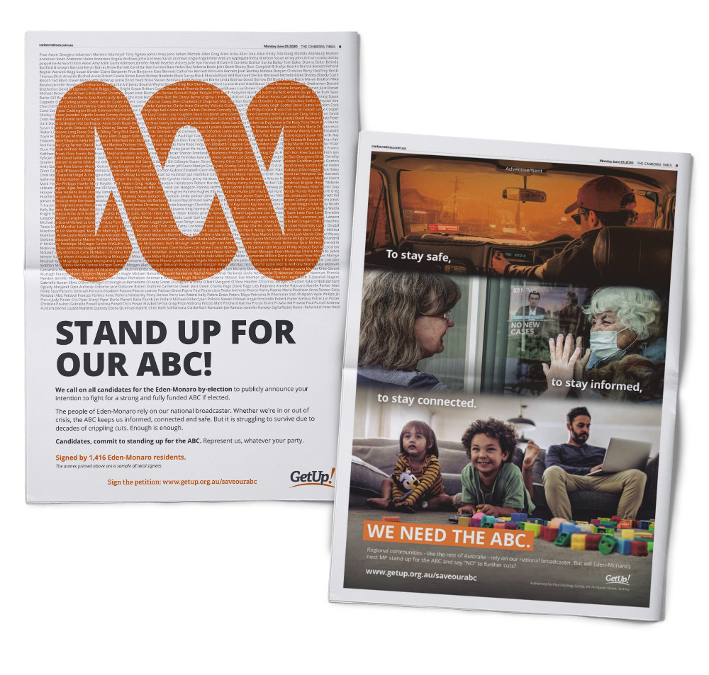 Image of two newspaper ads, one with a petition on the ABC and the other an image heavy ad showing the value of the ABC in times of crisis.