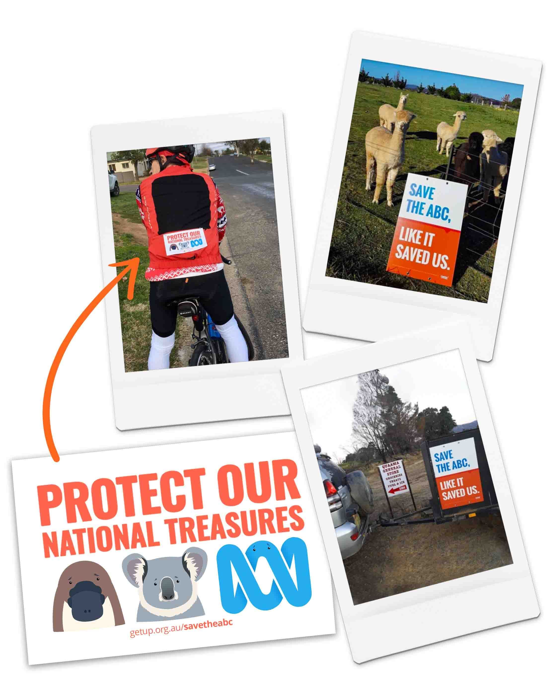 Snapshots of ABC yard signs and stickers in Eden-Monaro.