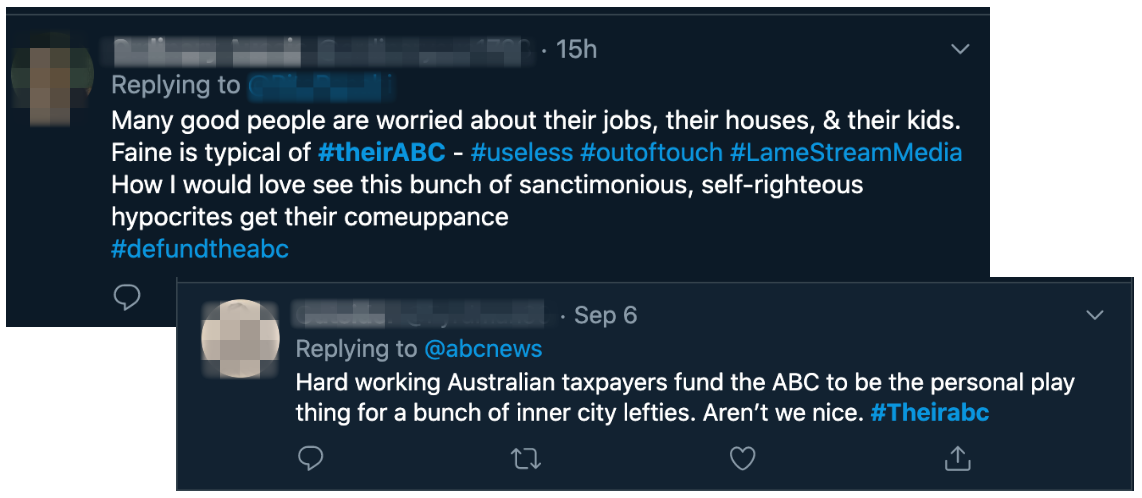 Examples of tweets using the #TheirABC hashtag as encouraged by Murdoch journalist Chris Kenny