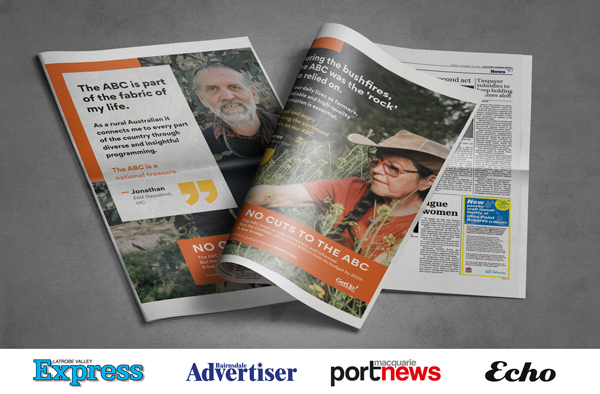 Image of two newspapers, each with a GetUp member''s image and story on it. Included are the mastheads of regional newspapers in which these stories appeared: LaTrobe Valley Express, Bairnsdale Advertiser, Port Macquarie News and The Echo.