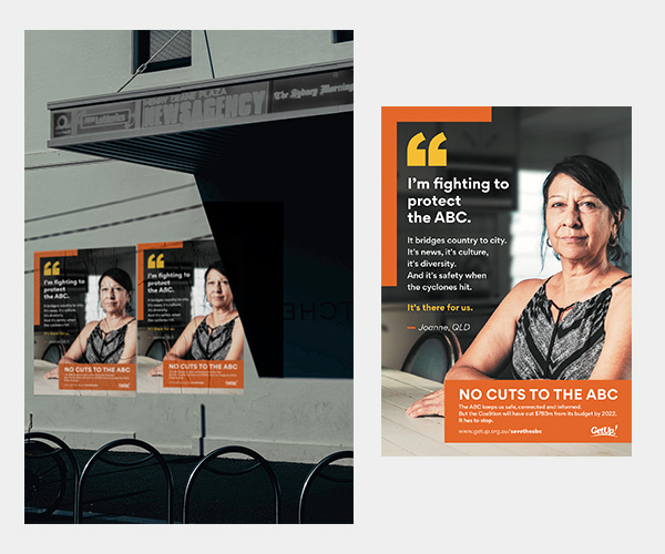 Image of posters plastered on street wall, with insert of poster up close featuring Joanne, from Far North Queensland.