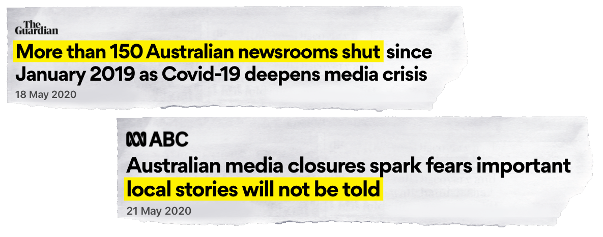 "Two tear out newspaper headlines reading ""More than 150 Australian newsrooms shut since January 2019 as Covid-19 deepens media crisis"" (The Guardian) and ""Australian media closures spark fears important local stories will not be told"" (ABC)"