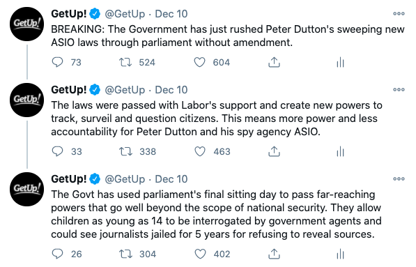 Screenshot from GetUp''s Twitter describing the passage of the laws.