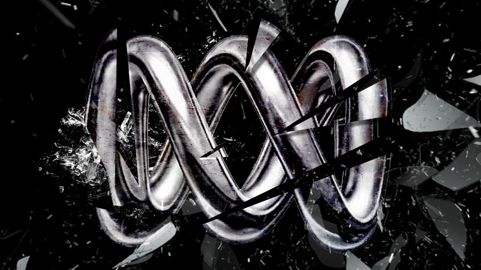 A smashed ABC logo on a black background